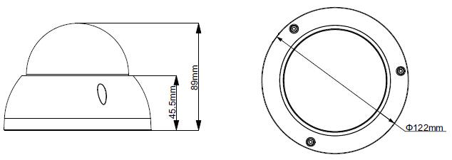 ابعاد دوربین HAC-HDBW2120R-VF